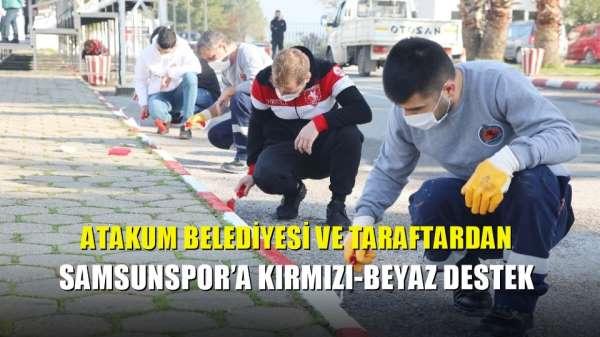 Atakum Belediyesi ve taraftardan Samsunspor'a kırmızı-beyaz destek