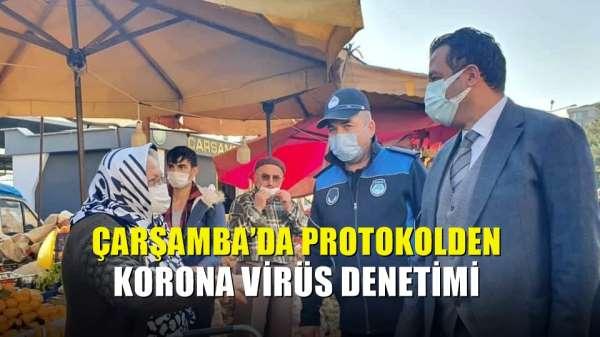Çarşamba'da protokolden korona virüs denetimi