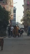 Sokak ortasında kadınlar birbirine girdi! Erkekler film gibi izledi