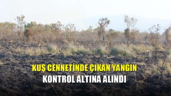 Kuş cennetinde çıkan yangın kontrol altına alındı
