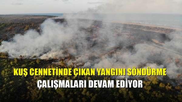 Kuş cennetinde çıkan yangını söndürme çalışmaları devam ediyor