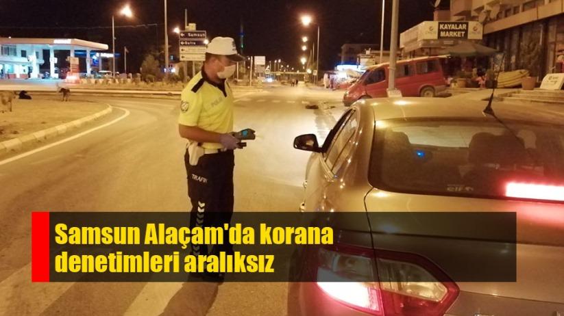 Samsun Alaçam'da polisten korana denetimi
