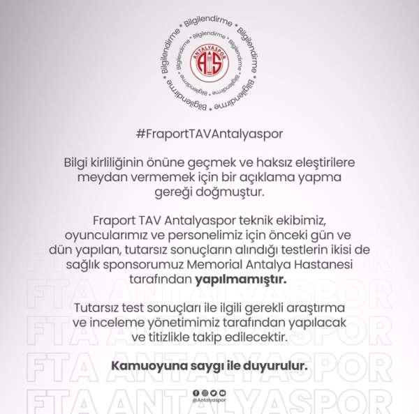 Antalyaspor'dan açıklama: 'İnceleme yapılacaktır'