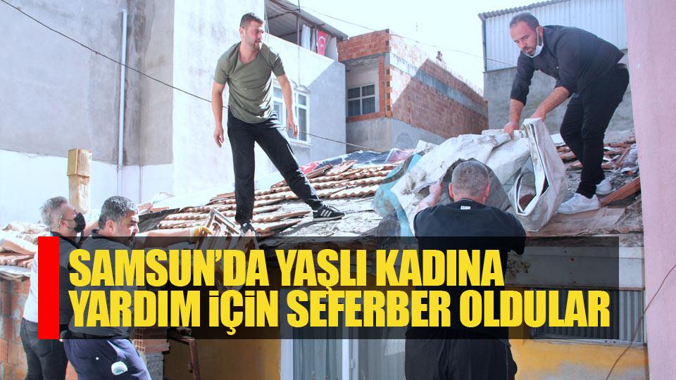 Samsun'da yaşlı kadına yardım için seferber oldular
